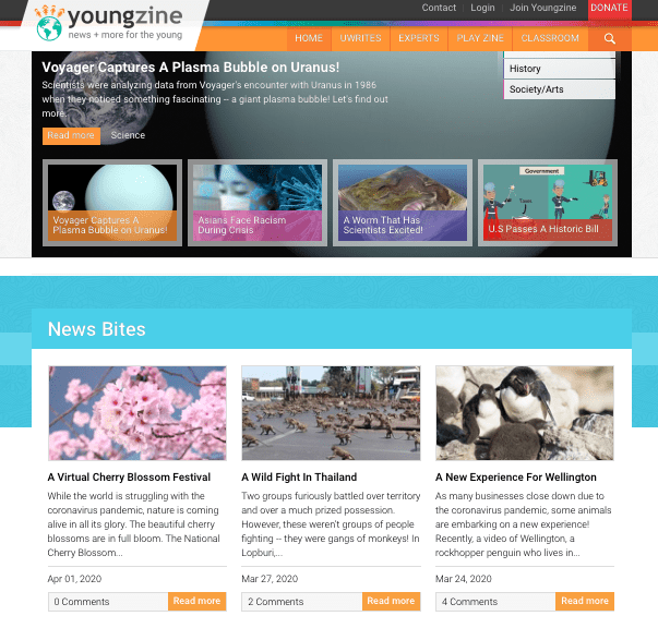 Youngzine Offers News and Current Events for Kids