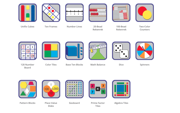 Didax offers virtual math manipulatives for kids